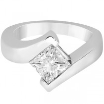Princess Cut Tension Set Engagement Ring Setting 14k White Gold