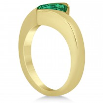Solitaire Princess Emerald Tension Set Engagement Ring 18k Yellow Gold (1.00ct)