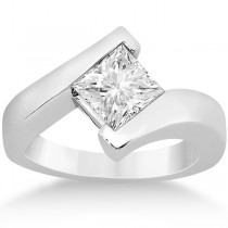 Princess Cut Tension Set Engagement Ring Solitaire Setting Platinum
