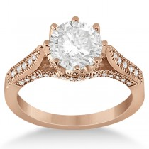Edwardian Diamond Engagement Ring Setting 18k Rose Gold (0.35ct)