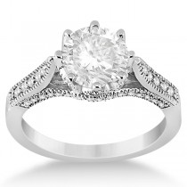 Edwardian Diamond Engagement Ring Setting 18k White Gold (0.35ct)