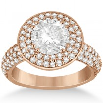 Pave Diamond Double Halo Engagement Ring 18k Rose Gold (1.09ct)