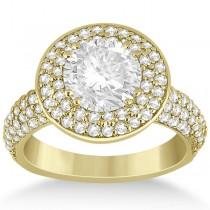 Pave Diamond Double Halo Engagement Ring 18k Yellow Gold (1.09ct)