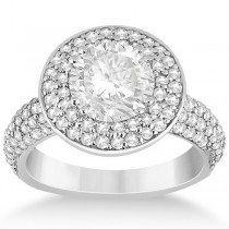 Pave Diamond Double Halo Engagement Ring Platinum (1.09ct)