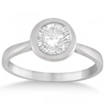 Floating Bezel Set Solitaire Engagement Ring Setting 14K White Gold