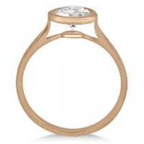 Floating Bezel Set Solitaire Engagement Ring Setting 18K Rose Gold