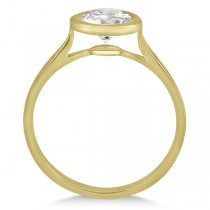 Floating Bezel Set Solitaire Engagement Ring Setting 18K Yellow Gold