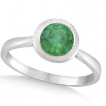 Floating Bezel Set Solitaire Emerald Engagement Ring 14k White Gold (1.00ct)