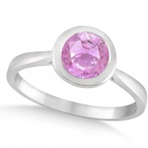 Floating Bezel Set Solitaire Pink Sapphire Engagement Ring 14k White Gold (1.00ct)