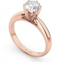 Six-Prong 14k Rose Gold Solitaire Engagement Ring Setting