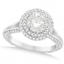 Double Halo Round Diamond Engagement Ring 14k White Gold (2.00ct)