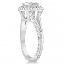 Double Halo Diamond Engagement Ring Setting 14k White Gold (1.00ct)