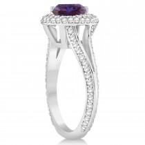 Halo Alexandrite & Diamond Engagement Ring 14k White Gold (2.86ct)