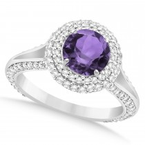 Halo Amethyst & Diamond Engagement Ring 14k White Gold (2.10ct)