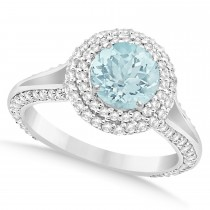 Halo Aquamarine & Diamond Engagement Ring 14k White Gold (2.31ct)