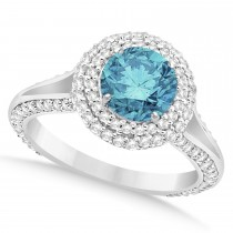 Halo Blue Diamond & Diamond Engagement Ring 14k White Gold (2.00ct)