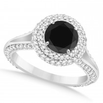 Halo Black Diamond & Diamond Engagement Ring 14k White Gold (2.00ct)