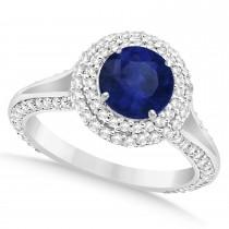 Halo Blue Sapphire & Diamond Engagement Ring 14k White Gold (2.41ct)