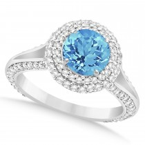 Halo Blue Topaz & Diamond Engagement Ring 14k White Gold (2.36ct)