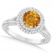 Halo Citrine & Diamond Engagement Ring 14k White Gold (2.10ct)
