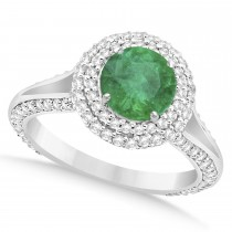 Halo Emerald & Diamond Engagement Ring 14k White Gold (2.26ct)