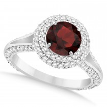Halo Garnet & Diamond Engagement Ring 14k White Gold (2.40ct)