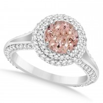 Halo Morganite Diamond Engagement Ring 14k White Gold (2.10ct)