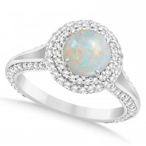 Halo Opal & Diamond Engagement Ring 14k White Gold (1.75ct)