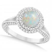 Halo Opal & Diamond Engagement Ring 14k White Gold (1.75ct)