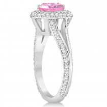 Halo Pink Tourmaline & Diamond Engagement Ring 14k White Gold (2.28ct)