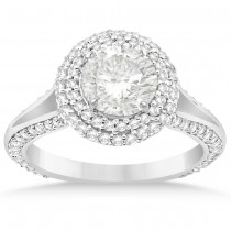 Double Halo Diamond Engagement Ring Setting Platinum (1.00ct)