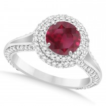 Halo Ruby & Diamond Engagement Ring 14k White Gold (2.41ct)