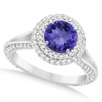Halo Tanzanite & Diamond Engagement Ring 14k White Gold (2.10ct)