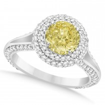 Halo Yellow Diamond & Diamond Engagement Ring 14k White Gold (2.00ct)
