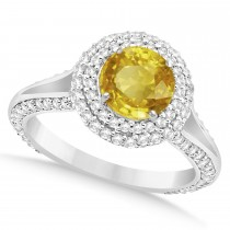 Halo Yellow Sapphire & Diamond Engagement Ring 14k White Gold (2.41ct)