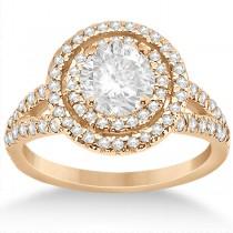 Double Halo Split Shank Diamond Engagement Ring 14k  Rose Gold 0.77ct