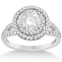 Double Halo Split Shank Diamond Engagement Ring Platinum 0.77ct
