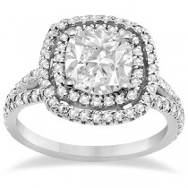 Double Halo Diamond Engagement Ring Setting 14K White Gold (0.77ctw)