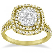 Double Halo Diamond Engagement Ring Setting 14K Yellow Gold (0.77ctw)