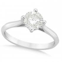 Round Solitaire Diamond Engagement Ring 18k White Gold 1.00ct