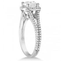 Square Halo Diamond Engagement Ring Split Shank 14K White Gold 1.25ctw