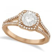 Halo Moissanite & Diamond Engagement Ring Split Shank 18K R Gold 1.25ct
