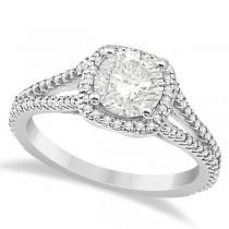 Halo Moissanite & Diamond Engagement Ring Split Shank 18K W Gold 1.25ct