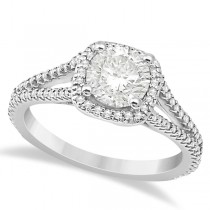 Square Halo Diamond Engagement Ring Split Shank Platinum 1.25ctw