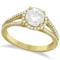 Split Shank Round Halo Diamond Engagement Ring 18K Yellow Gold 1.34ct