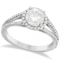 Split Shank Moissanite Engagement Ring Diamond Halo 18K W. Gold 1.34ct
