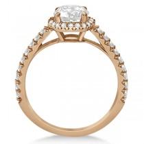 Halo Diamond Engagement Ring w/ Side Stones 14k Rose Gold (1.50ct)