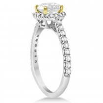 Halo Diamond Engagement Ring  14K Two Tone Gold 1.50ct