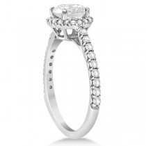 Halo Diamond Engagement Ring with Side Stone Accents 18K W. Gold 1.50ct