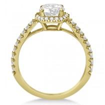 Halo Diamond Bridal Set w/ Side Stones 18K Yellow Gold (2.33ct)
